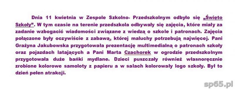 """Galeria: """"Święto Szkoły"""" w Przedszkolu - kwiecień 2014"""