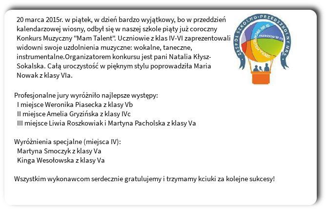 Galeria: Konkurs Muzyczny Mam Talent - marzec 2015