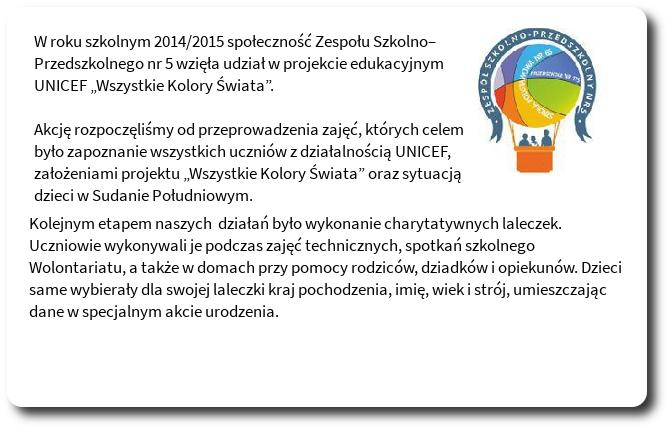 """Galeria: Projekt edukacyjny UNICEF """"Wszystkie Kolory Świata"""" - 2014/15"""