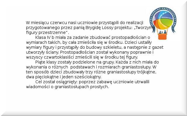 Galeria: Projekt Tworzymy figury przestrzenne - czerwiec 2014