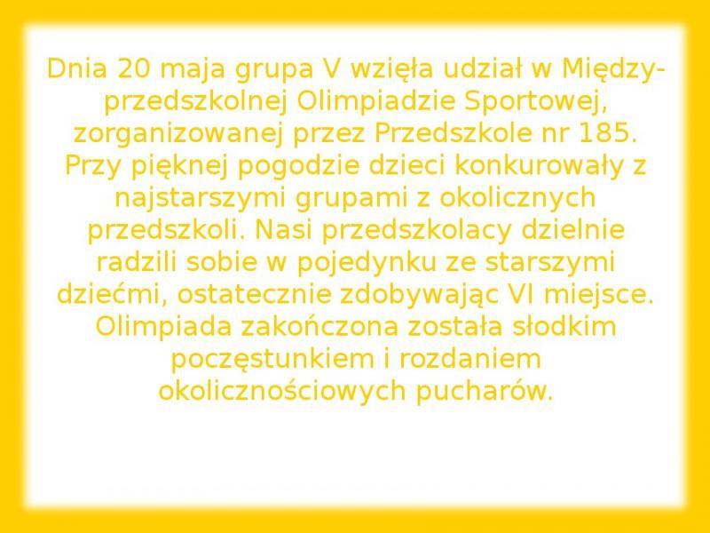 Galeria: Przedszkolna Olimpiada Sportowa - maj 2014