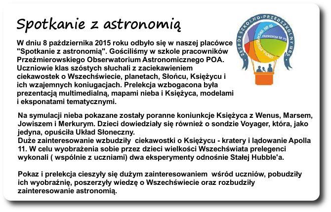 Galeria: Spotkanie z astronomią - październik 2015