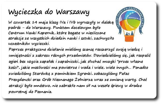 Galeria: Wycieczka do Warszawy - maj 2015