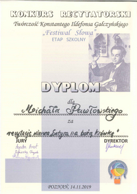 Konkurs Recytatorski Festiwal Słowa Twórczość Konstantego